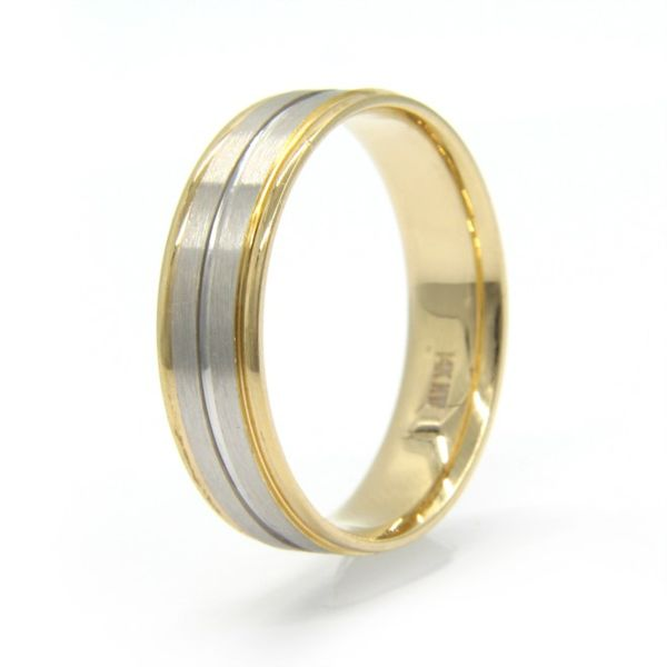 Men's 14k Two Tone Gold Wedding Band Image 2 Arezzo Jewelers Chicago, IL
