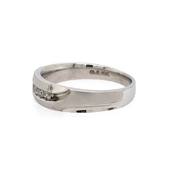 Men's 14k White Gold Diamond Wedding Band Image 2 Arezzo Jewelers Chicago, IL