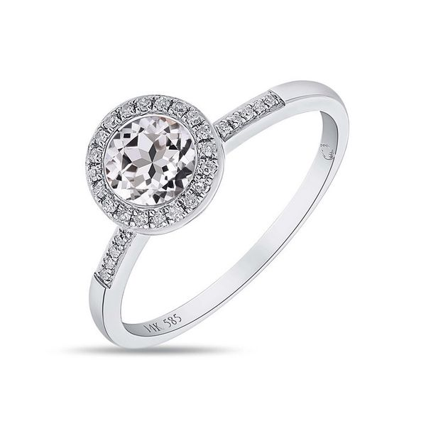 White Topaz and Diamond Halo Ring Arezzo Jewelers Chicago, IL