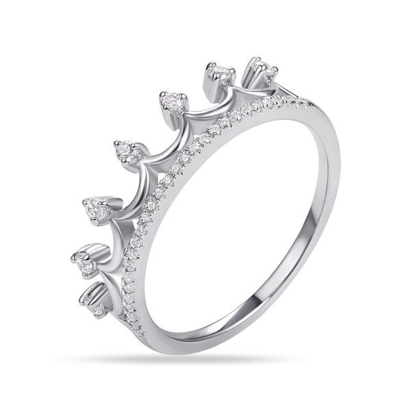 14k White Gold Diamond Crown Ring - .22cts Arezzo Jewelers Chicago, IL