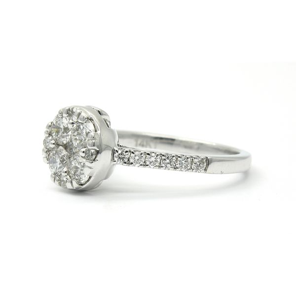 14k Solitaire Cluster Diamond Ring Image 2 Arezzo Jewelers Chicago, IL