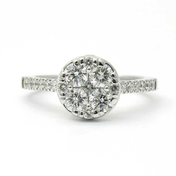 14k Solitaire Cluster Diamond Ring Arezzo Jewelers Chicago, IL