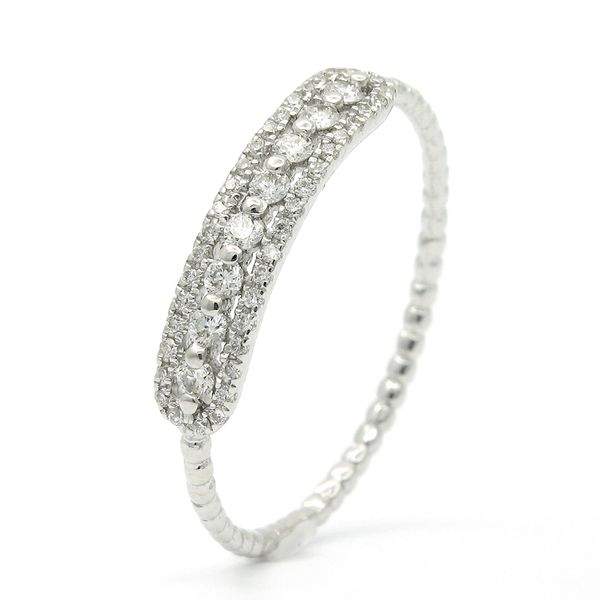 18k White Gold Diamond Stackable Ring Image 2 Arezzo Jewelers Chicago, IL