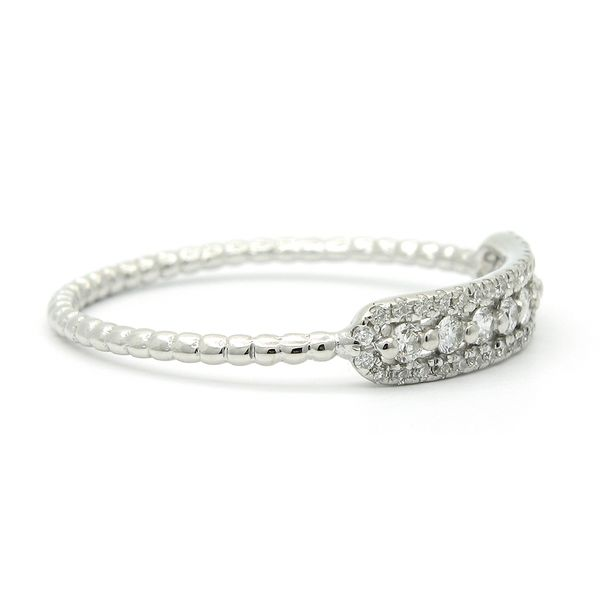 18k White Gold Diamond Stackable Ring Image 3 Arezzo Jewelers Chicago, IL