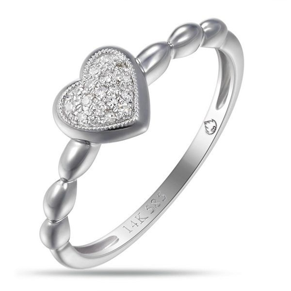14k White Gold Pave Heart Ring Arezzo Jewelers Chicago, IL