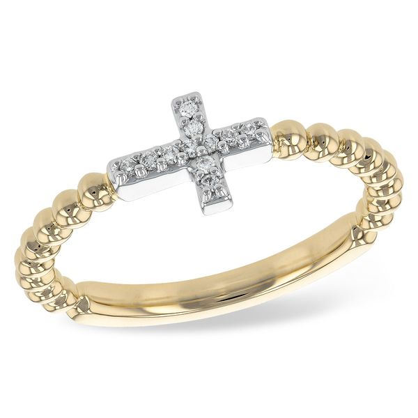 14k Yellow Gold Beaded Diamond Cross Ring Arezzo Jewelers Chicago, IL