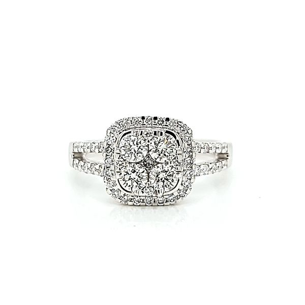 18k White Gold Diamond Halo Cluster Ring, 1.16cts Arezzo Jewelers Chicago, IL
