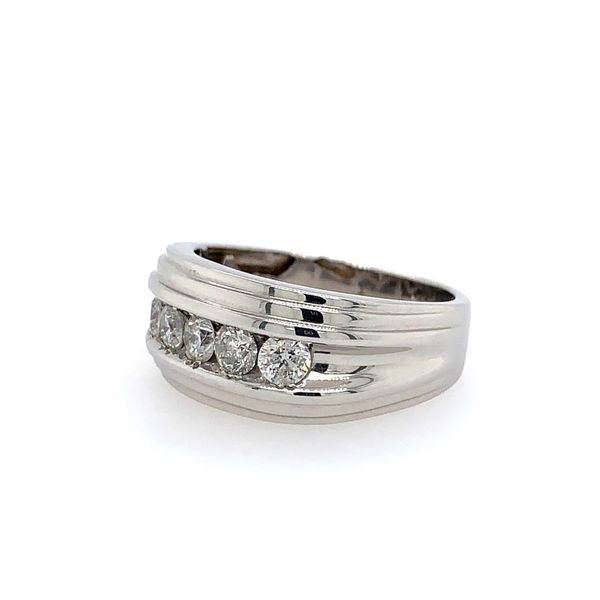 14k White Gold Men's Channel Set Diamond Ring - 1.00cts Image 2 Arezzo Jewelers Chicago, IL