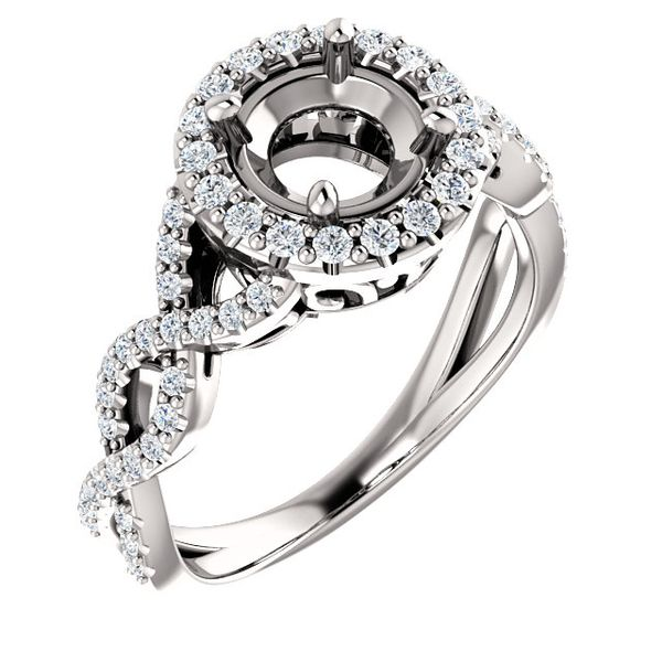 14k White Gold Halo Diamond Engagement Ring Arezzo Jewelers Chicago, IL