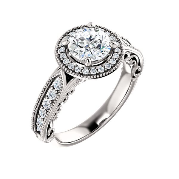 Vintage-Inspired Halo-Style Engagement Ring Image 3 Arezzo Jewelers Chicago, IL