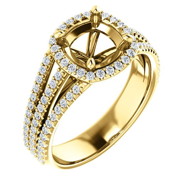 14k Yellow Cushion Halo Engagement Ring Image 3 Arezzo Jewelers Chicago, IL