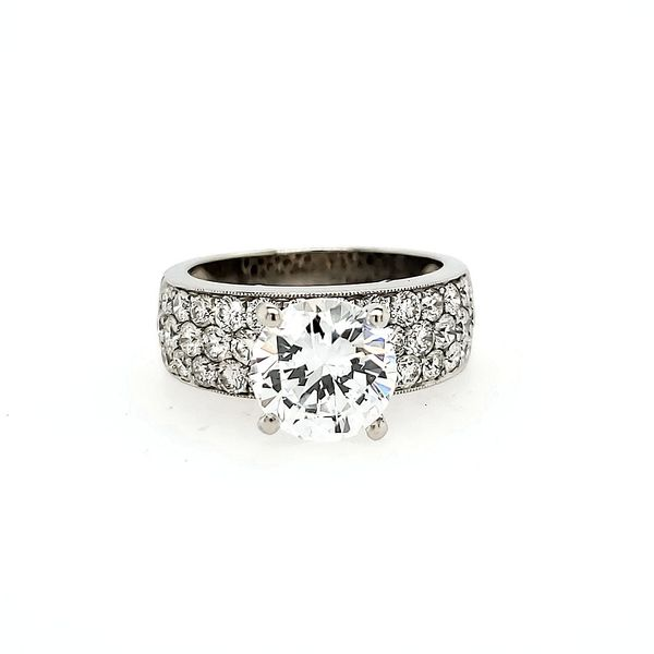 14k White Gold French Pave Diamond Engagement Ring Arezzo Jewelers Chicago, IL