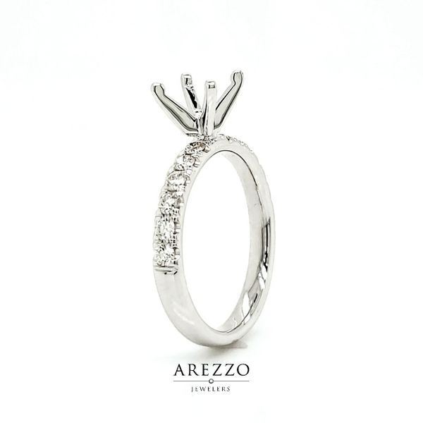 18k White Gold Single Row Pave Engagement Ring Mounting, .45cts Image 3 Arezzo Jewelers Chicago, IL