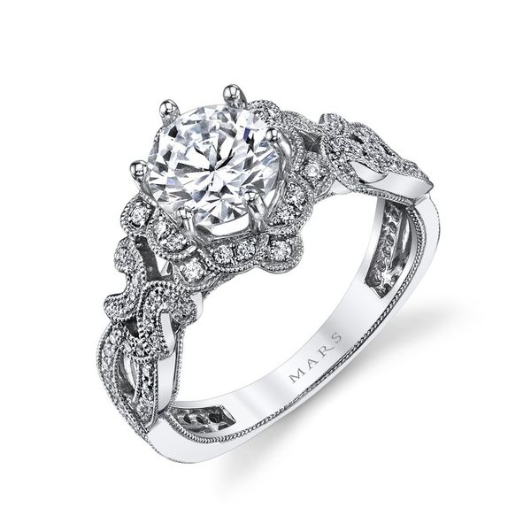 Floral Design Diamond Engagement Ring 0.38 Ctw. Image 3 Arezzo Jewelers Chicago, IL