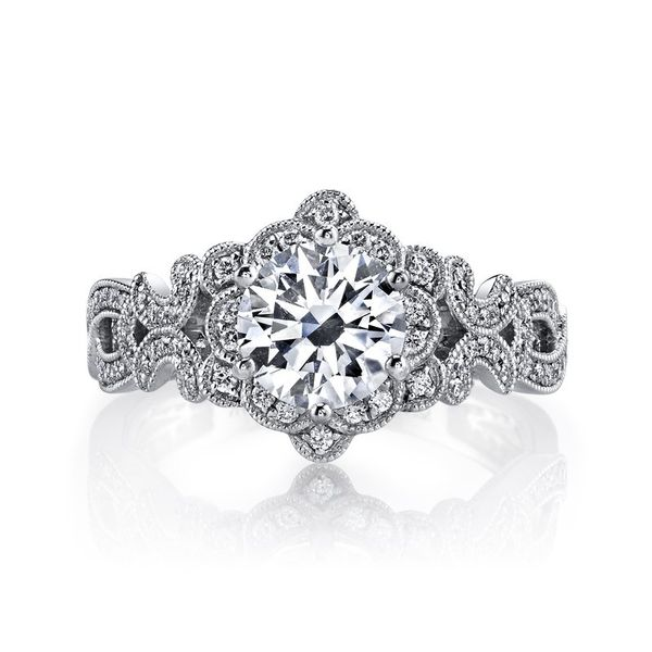 Floral Design Diamond Engagement Ring 0.38 Ctw. Arezzo Jewelers Chicago, IL