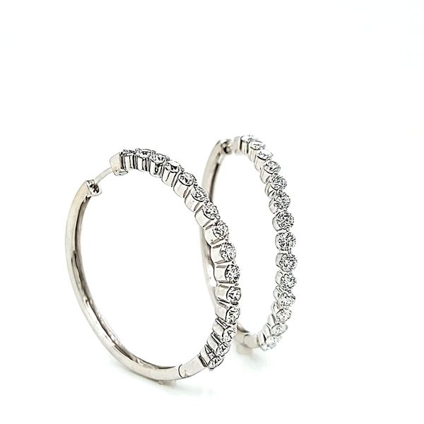 14k White Gold Large In & Out Diamond Hoop Earrings, 2.07cts Image 2 Arezzo Jewelers Chicago, IL