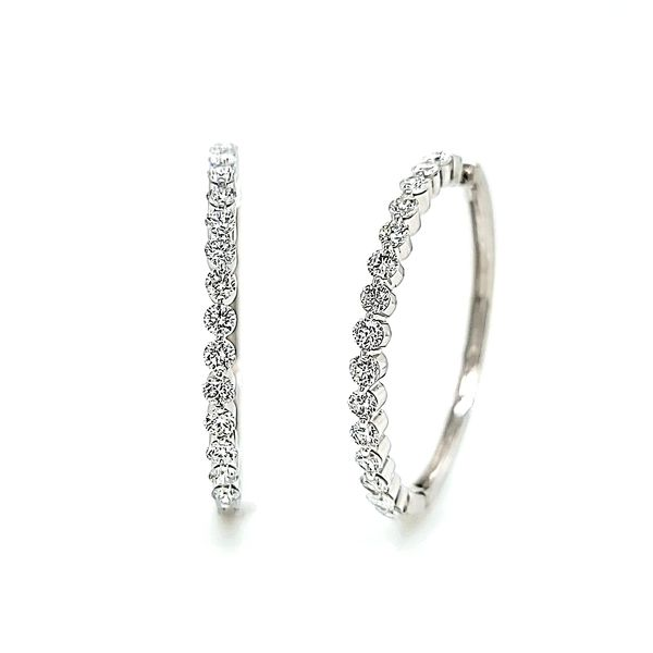 14k White Gold Large In & Out Diamond Hoop Earrings, 2.07cts Arezzo Jewelers Chicago, IL