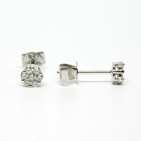 14k White Gold Stud Earrings Image 2 Arezzo Jewelers Chicago, IL