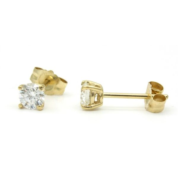 Yellow Gold Round Diamond Stud Earrings, .38cts Image 2 Arezzo Jewelers Chicago, IL