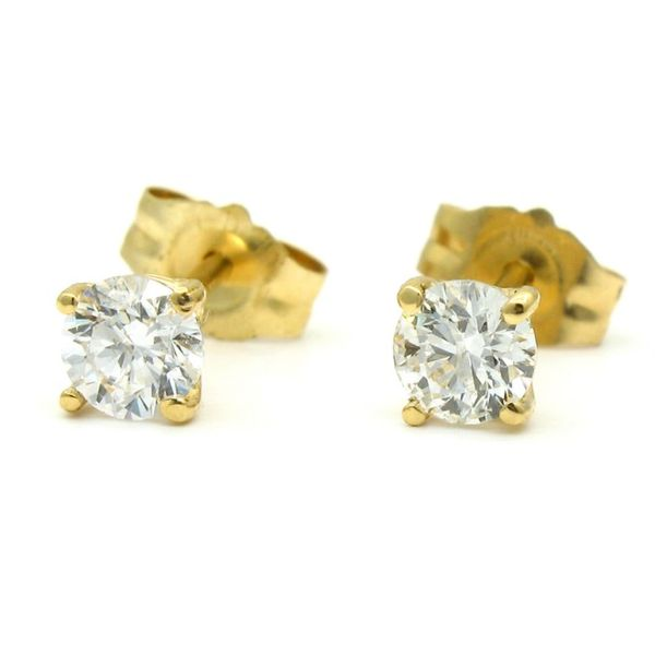Yellow Gold Round Diamond Stud Earrings, .38cts Arezzo Jewelers Chicago, IL
