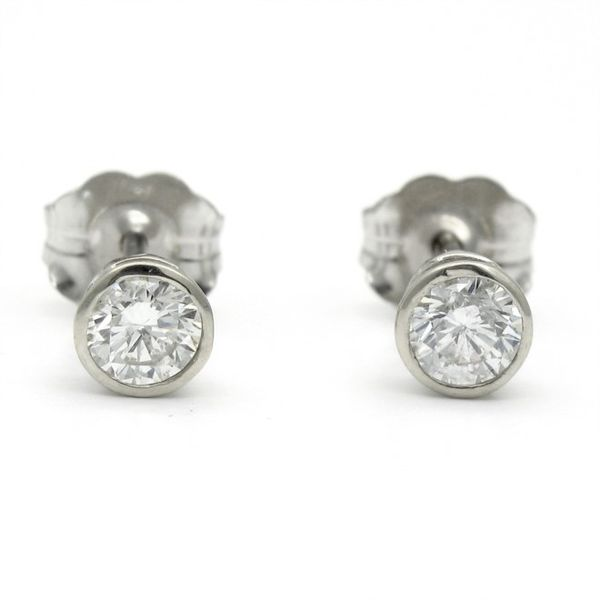 White Gold Bezel Set Diamond Stud Earrings, .42cts Arezzo Jewelers Chicago, IL