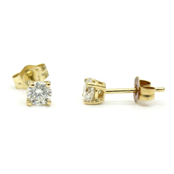 Yellow Gold Diamond Stud Earrings, .40cts Image 2  ,