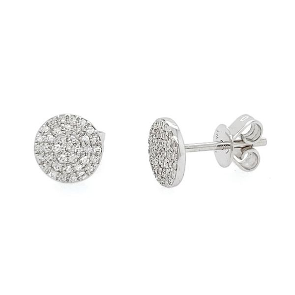 14k Diamond Pave Circle Stud Earrings Arezzo Jewelers Chicago, IL