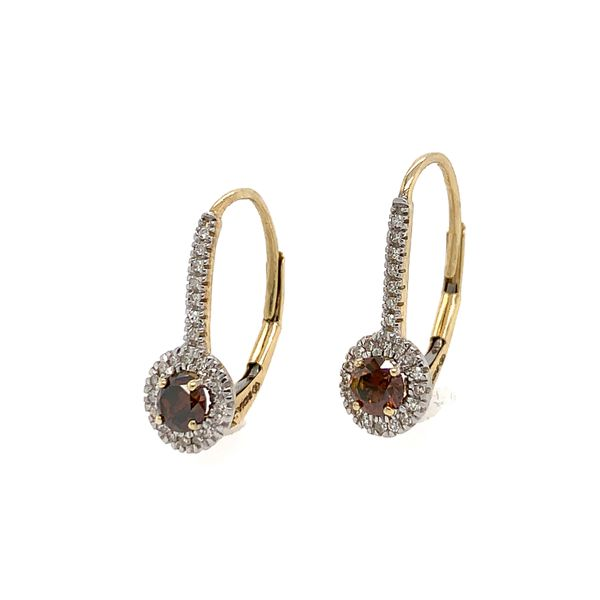 Red Diamond Leverback Earrings, 10k Yellow Gold Image 2 Arezzo Jewelers Chicago, IL