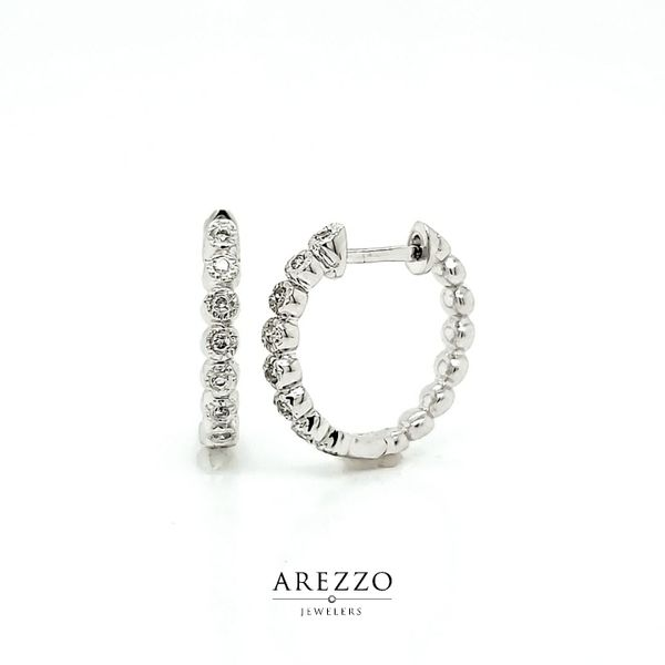14k White Gold 15mm Diamond Hoop Earrings Arezzo Jewelers Chicago, IL
