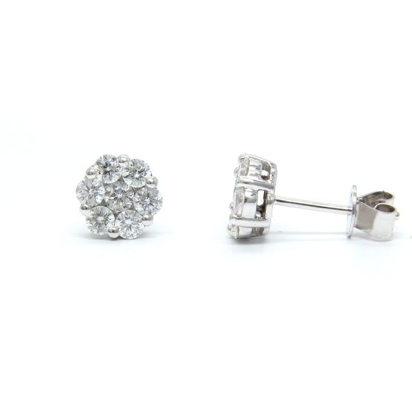 14k White Gold Diamond Stud Earrings - .76cts Image 2 Arezzo Jewelers Chicago, IL