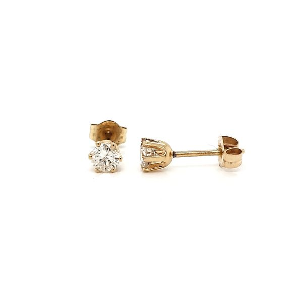 14k Yellow Gold Six Prong Diamond Stud Earrings, .35cts Image 2 Arezzo Jewelers Chicago, IL