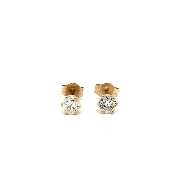 14k Yellow Gold Six Prong Diamond Stud Earrings, .35cts Arezzo Jewelers Chicago, IL