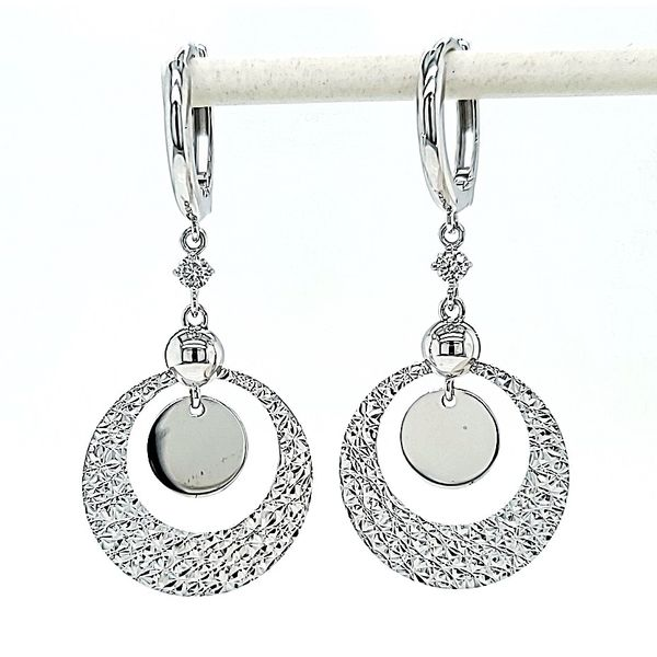 14k White Gold Circle Dangle Diamond Earrings Arezzo Jewelers Chicago, IL