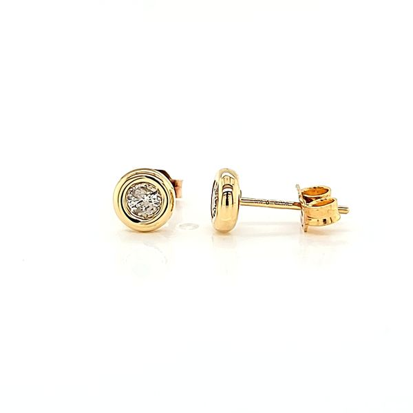 18k Yellow Gold Bezel-Set Diamond Stud Earrings, .33cts TW Image 2 Arezzo Jewelers Chicago, IL