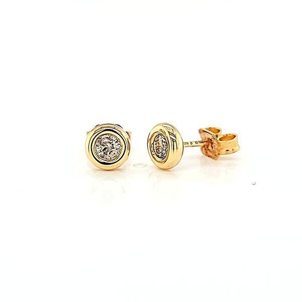18k Yellow Gold Bezel-Set Diamond Stud Earrings, .33cts TW Image 3 Arezzo Jewelers Chicago, IL