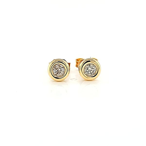 18k Yellow Gold Bezel-Set Diamond Stud Earrings, .33cts TW Arezzo Jewelers Chicago, IL