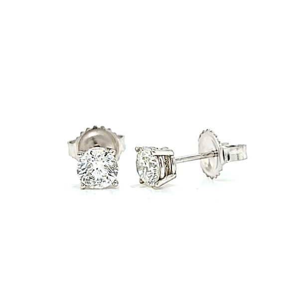 1.04ct Round Diamond Stud Earrings in 14k White Gold Image 2 Arezzo Jewelers Chicago, IL