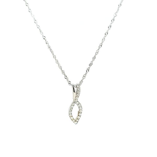 14k White Gold Diamond Necklace Pendant, .10cts Arezzo Jewelers Elmwood Park, IL
