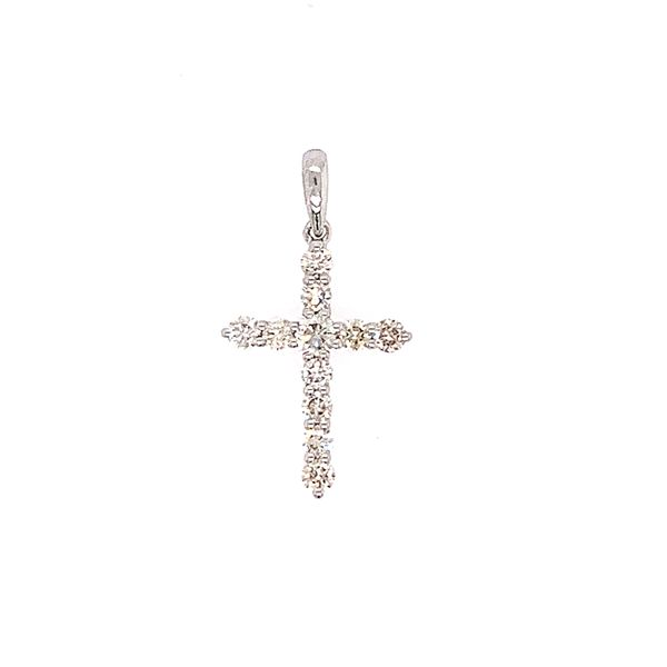 18k White Gold Diamond Cross Pendant Arezzo Jewelers Chicago, IL