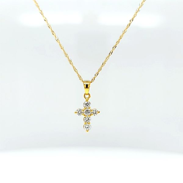 Petite Diamond Cross Necklace in 14k White Gold, .28cts Arezzo Jewelers Chicago, IL