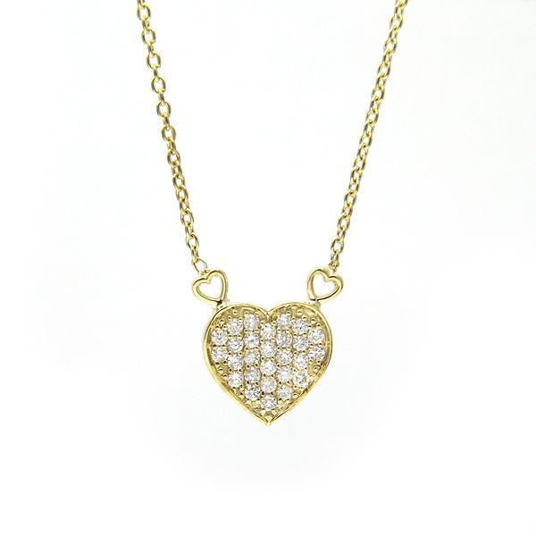 Yellow Gold Pave Diamond Heart Necklace Arezzo Jewelers Chicago, IL