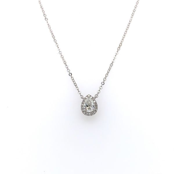 14k White Gold Pear Diamond Halo Necklace Arezzo Jewelers Chicago, IL