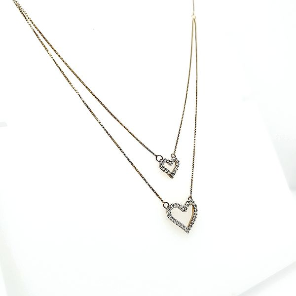 10k Yellow Gold Stacking Heart Diamond Necklace Image 2 Arezzo Jewelers Chicago, IL