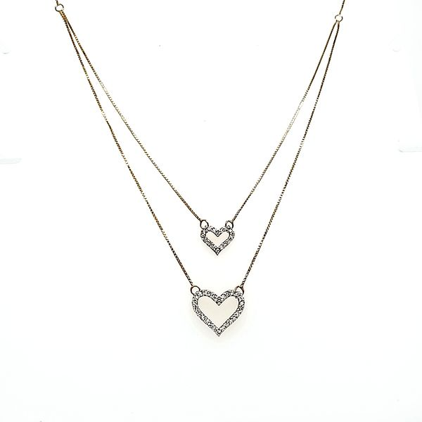 10k Yellow Gold Stacking Heart Diamond Necklace Arezzo Jewelers Chicago, IL