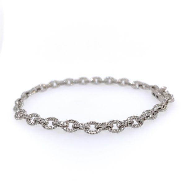 14k White Gold Pave Diamond Link Bracelet, 1.01cts Image 2 Arezzo Jewelers Chicago, IL