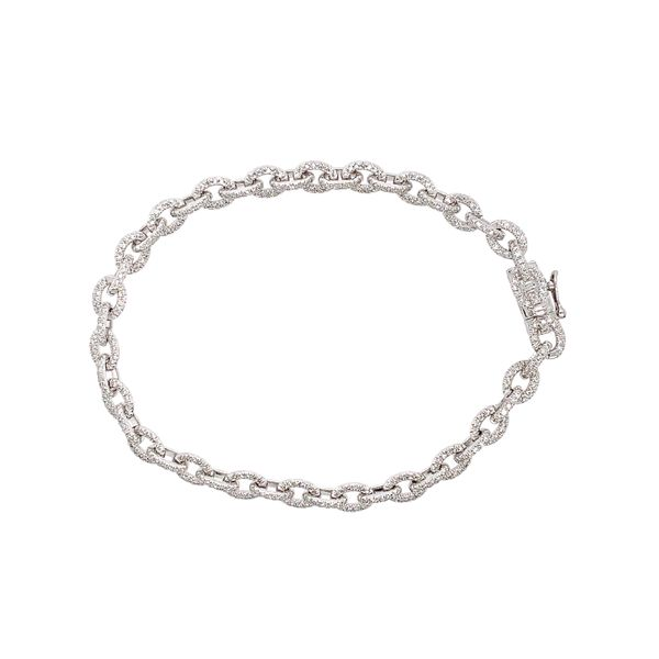 14k White Gold Pave Diamond Link Bracelet, 1.01cts Arezzo Jewelers Chicago, IL