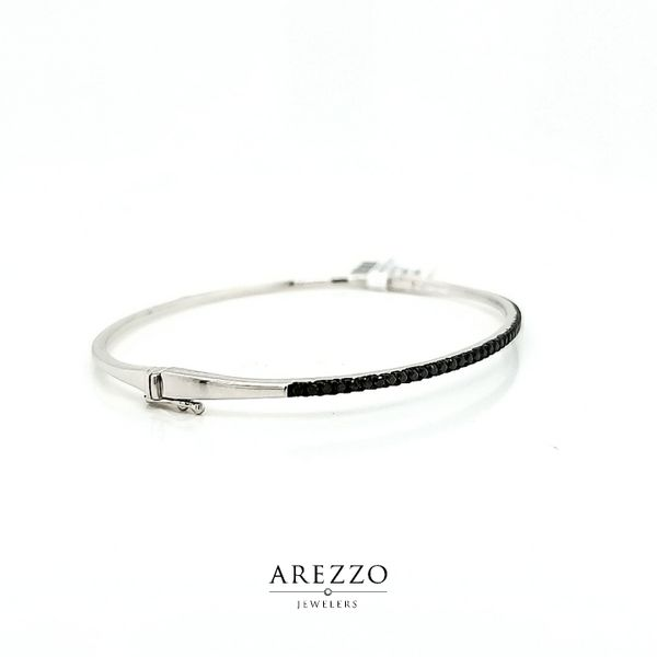14k White Gold Black Diamond Bangle Bracelet, .50cts Image 2 Arezzo Jewelers Chicago, IL
