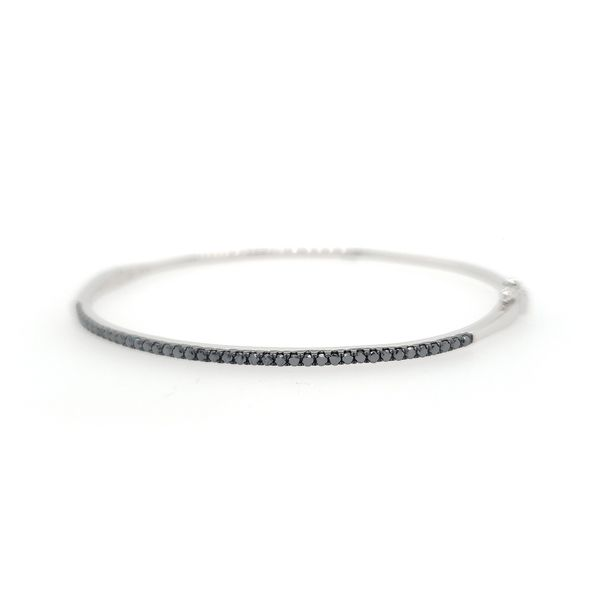 14k White Gold Black Diamond Bangle Bracelet, .50cts Image 3 Arezzo Jewelers Chicago, IL
