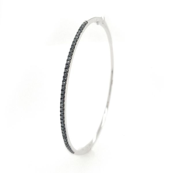 14k White Gold Black Diamond Bangle Bracelet, .50cts Image 4 Arezzo Jewelers Chicago, IL