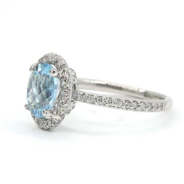 18k White Gold Aquamarine and Diamond Ring Image 2 Arezzo Jewelers Chicago, IL